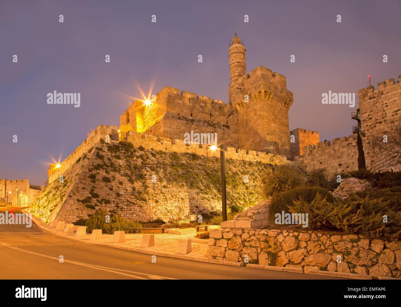 Jerusalem - der Turm von David in der Abenddämmerung Stockbild