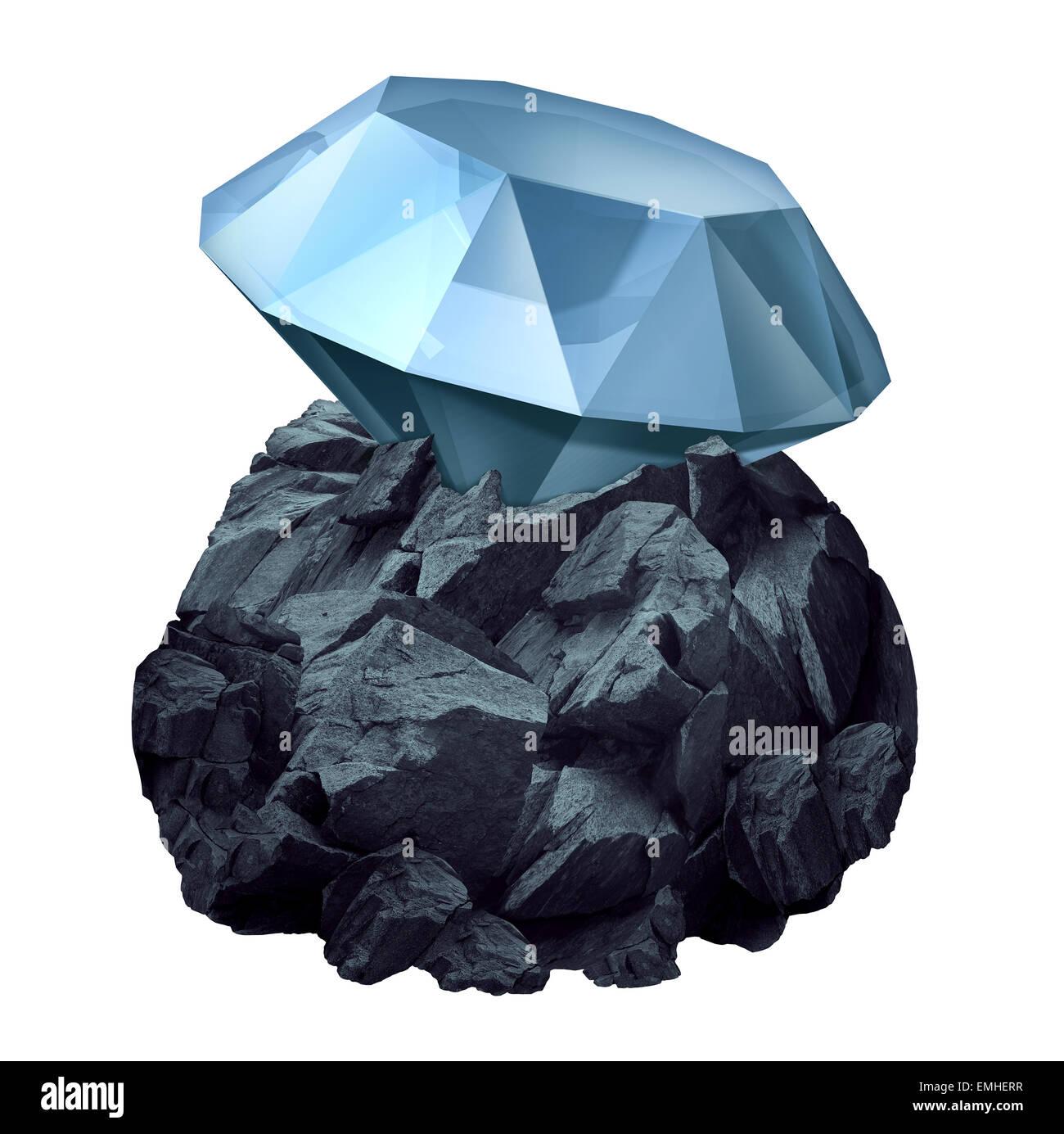 Diamond In The Rough als ein glänzendes Juwel versteckt in einem Stück von schroffen Felsen als Geschäft Stockbild