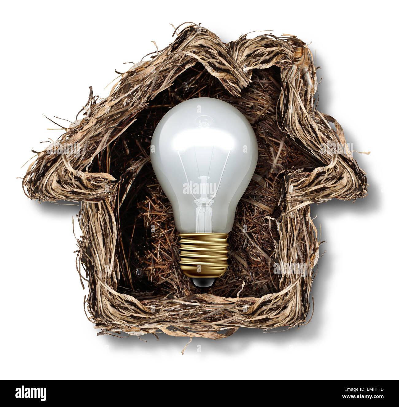 Wohnideen und Haus-Lösung-Symbol als ein Vogelnest als Familienresidenz als Metapher für Immobilien denken Stockbild