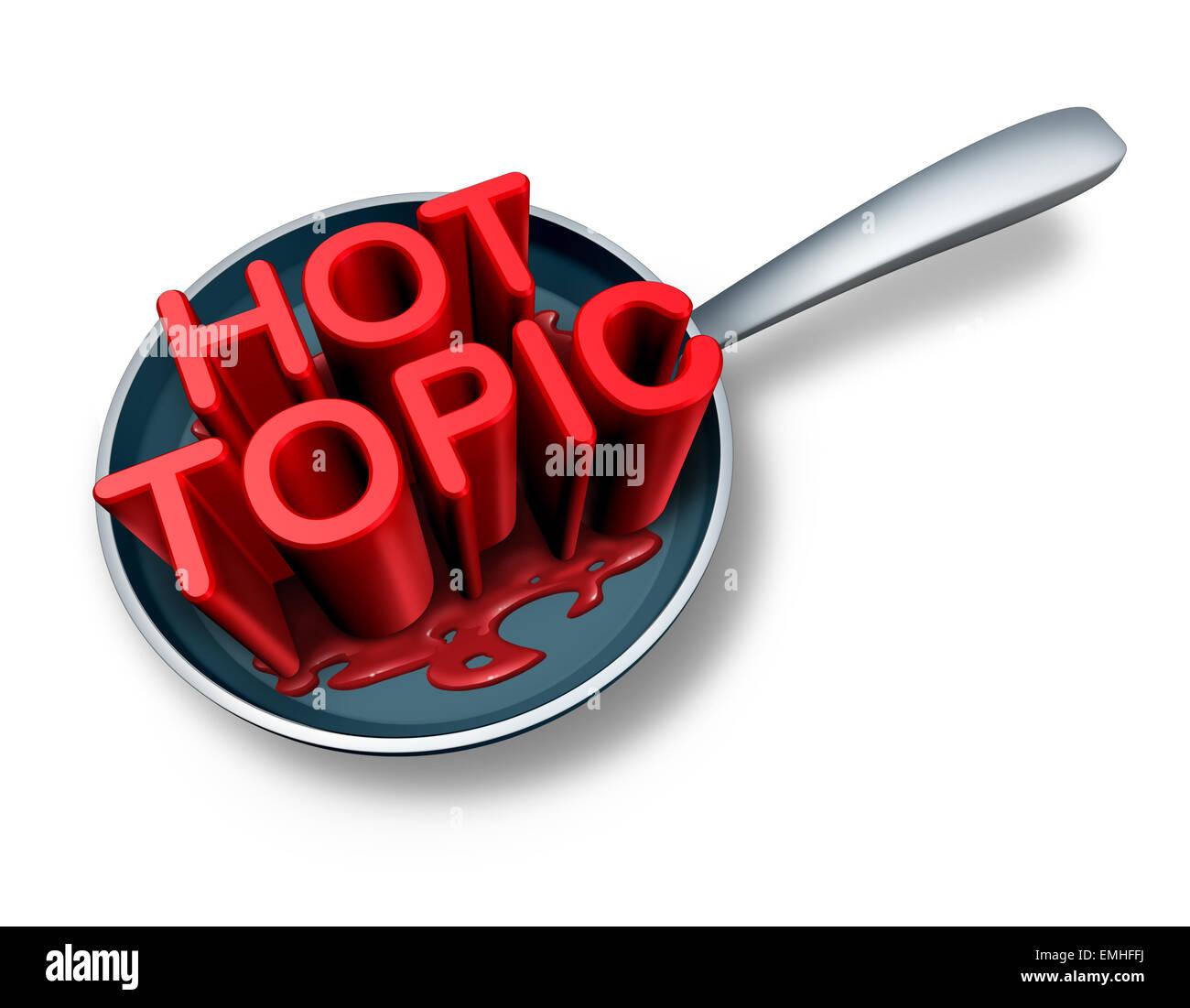 Heißes Thema und Breaking News Symbol als das Wort für aktuelle soziale Newsflash Veranstaltungen in einer Stockbild