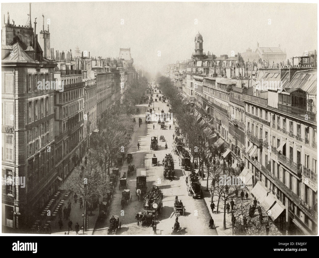 Straße Szene, Boulevard des vergoß, Paris, Frankreich, Albumen Print, um 1890 Stockbild