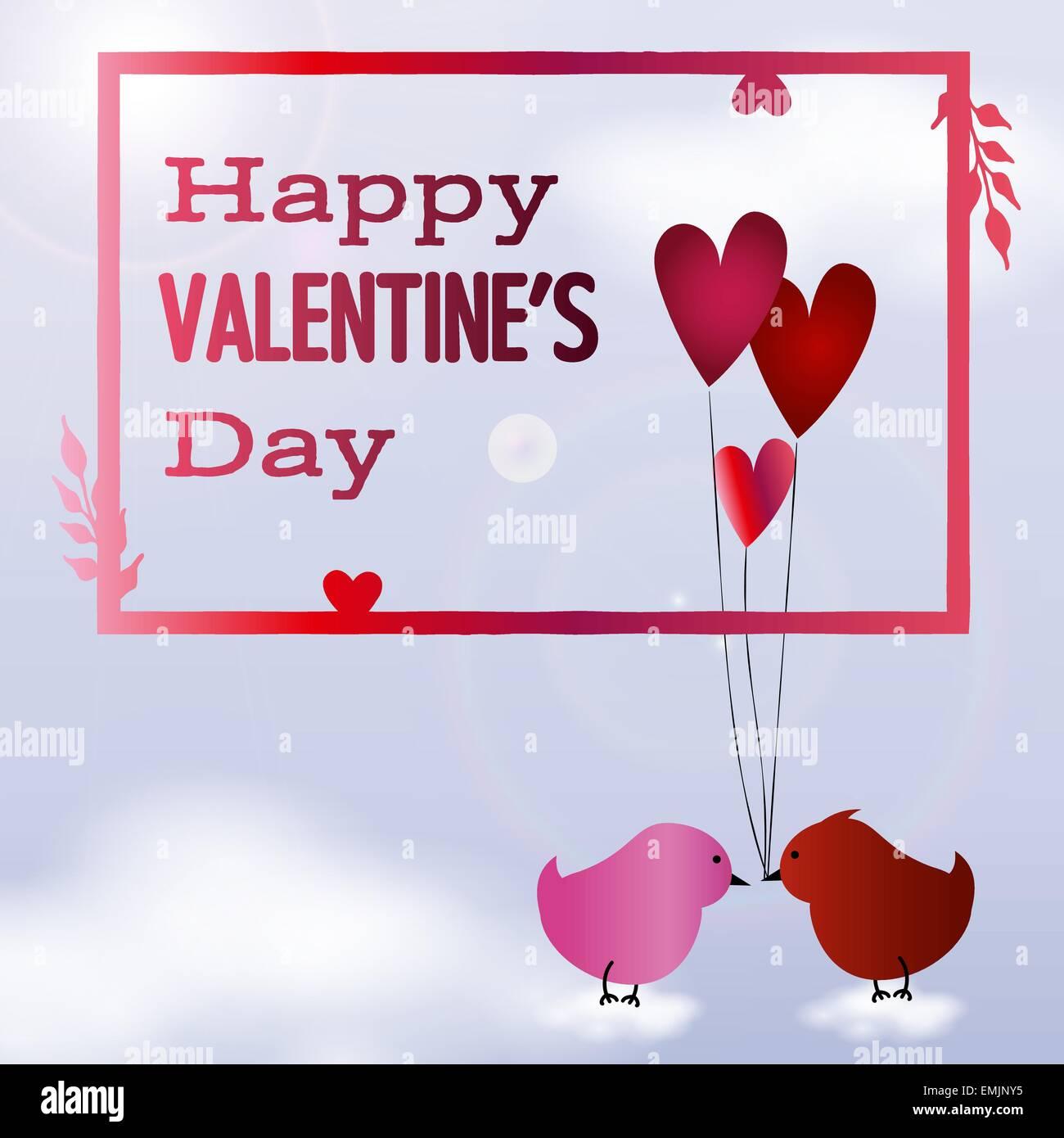 Valentine Tag Rahmen mit zwei Vögel in der Liebe auf Wolken Vektor ...