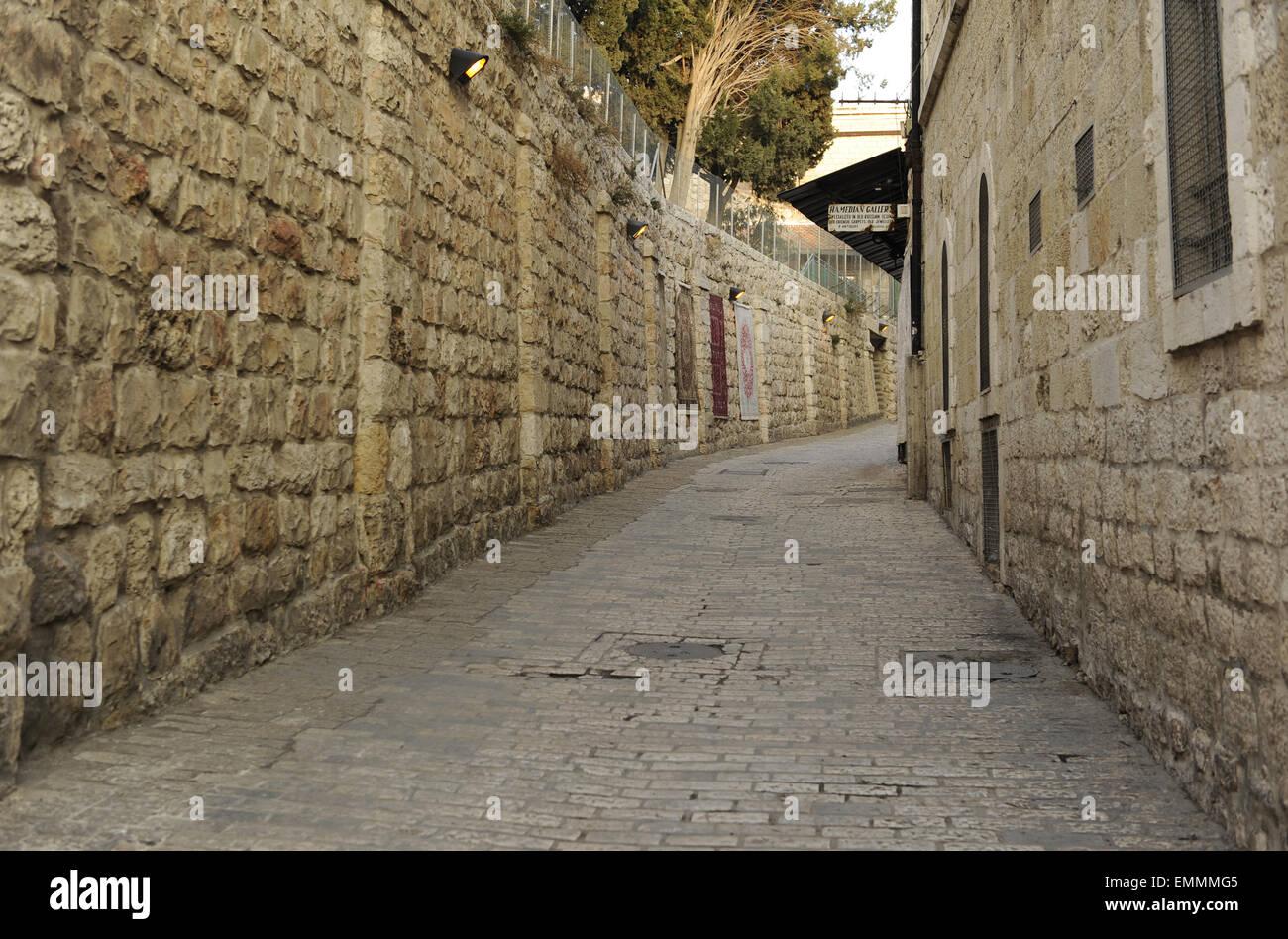 Israel. Jerusalem. Via Dolorosa. Straße der alten Stadt, die traditionell mit Jesus ging das Kreuz, den Weg Stockbild