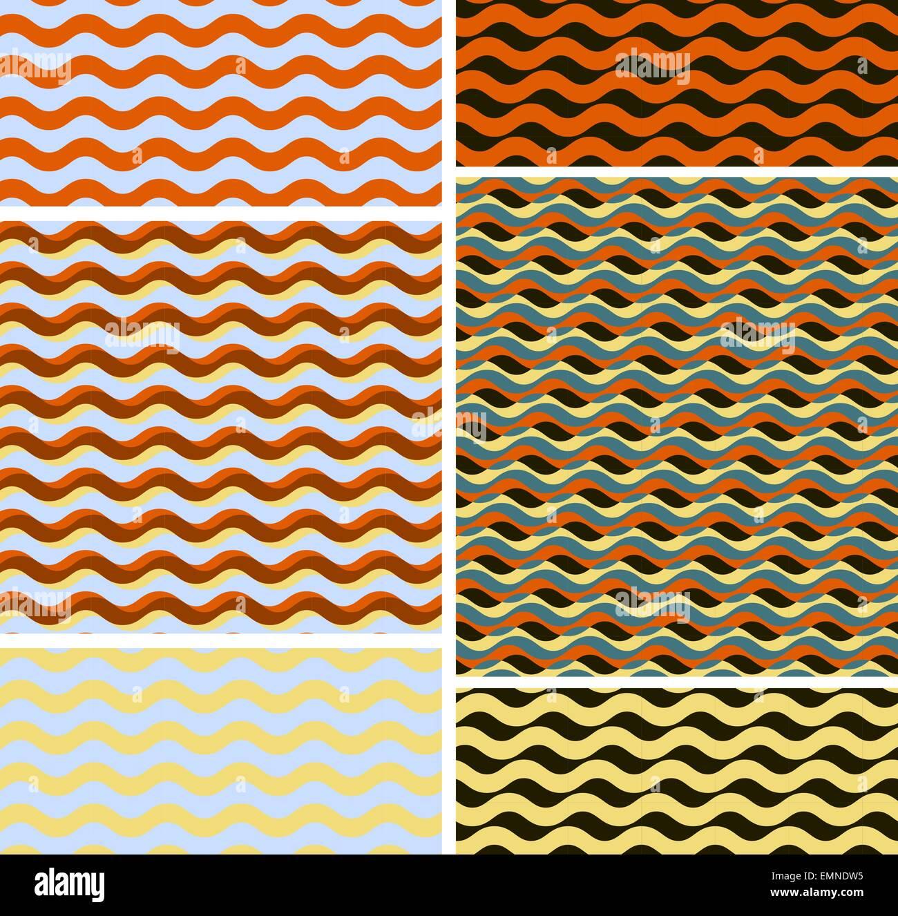Reihe von geometrischen Musterdesign Hintergründen Stockbild