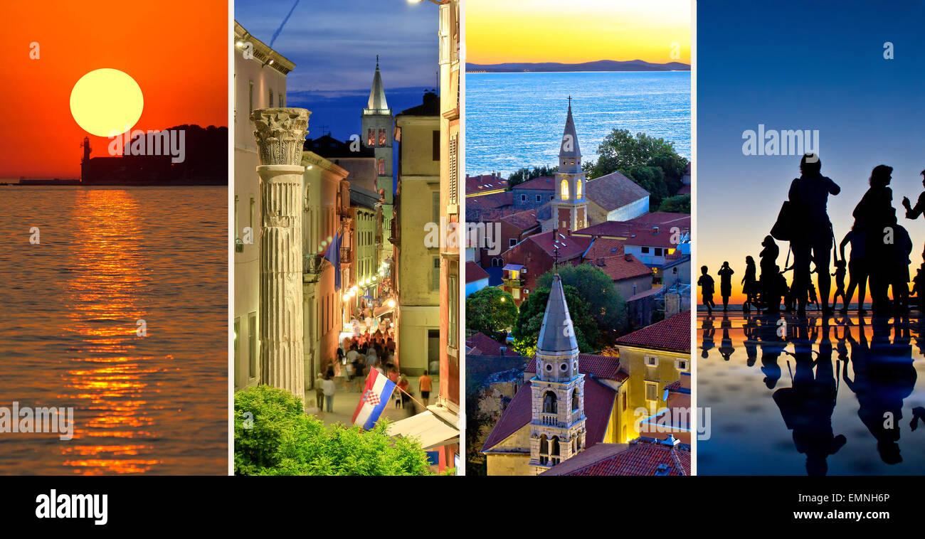 Stadt Zadar Abend und Sonnenuntergang Reisen Collage, Dalmatien, Kroatien Stockbild