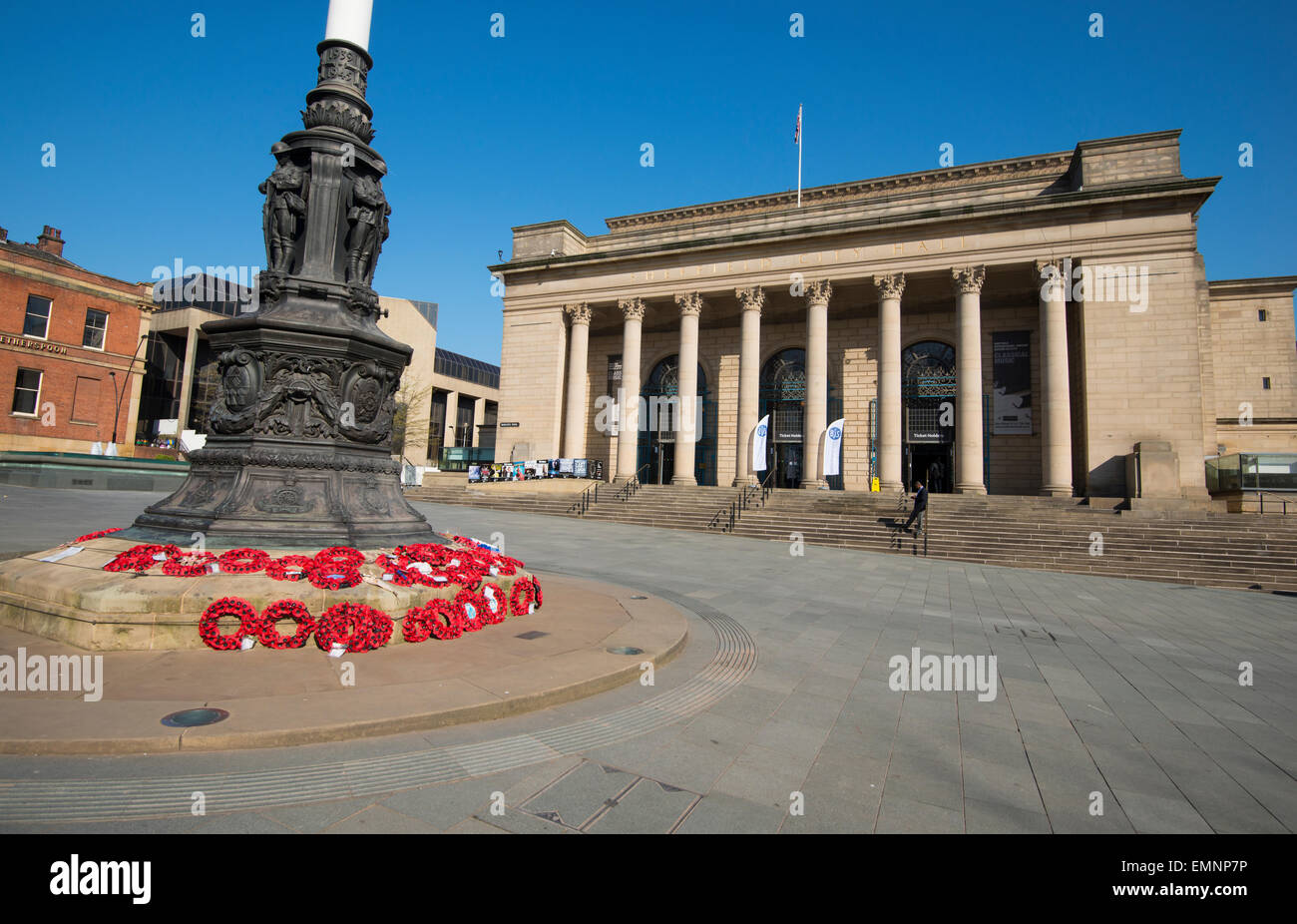 Frühling im Rathaus in Sheffield, South Yorkshire England UK Stockbild