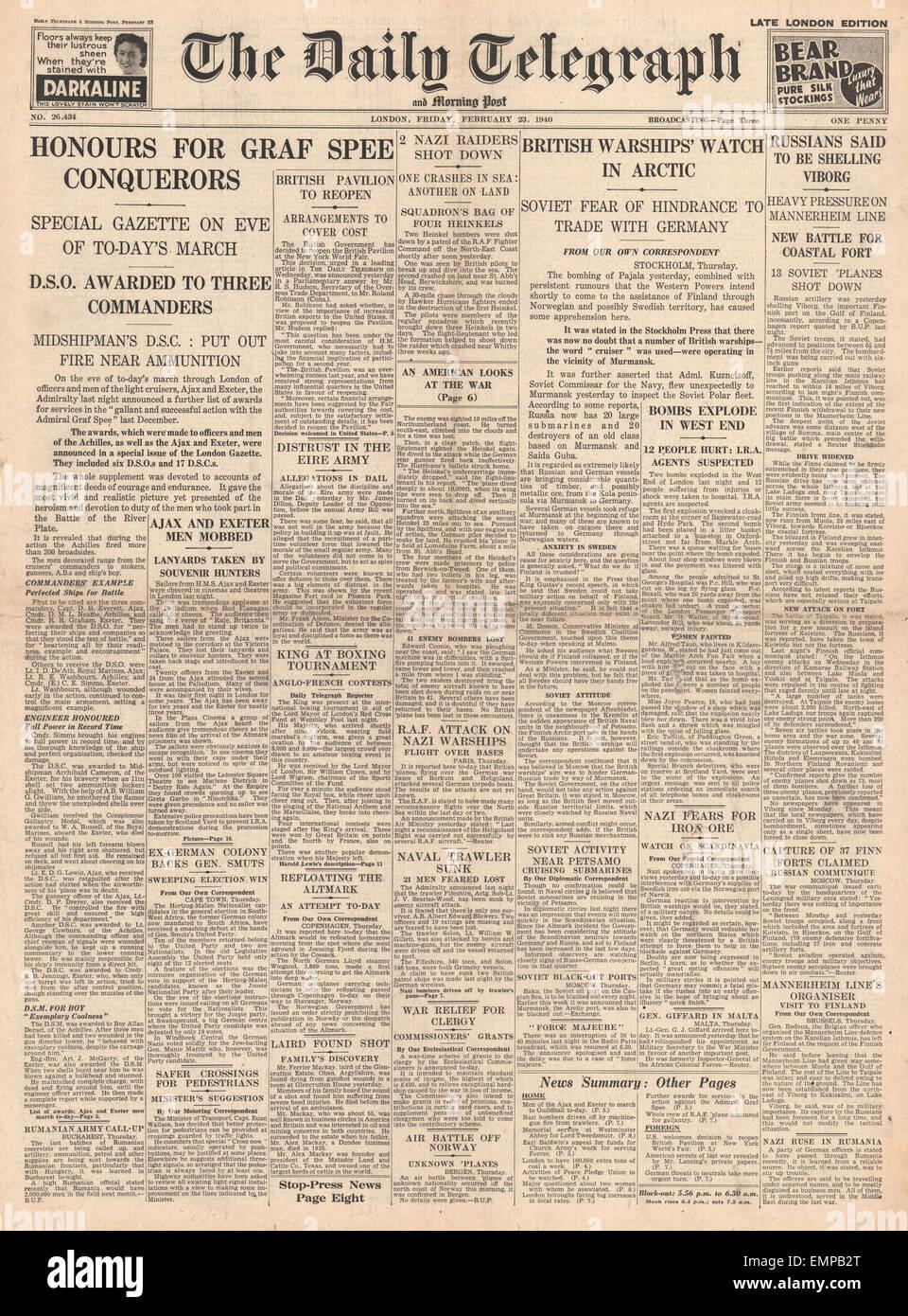 1940-Titelseite Daily Telegraph Marine geehrt für die Schlacht von River Plate Stockfoto
