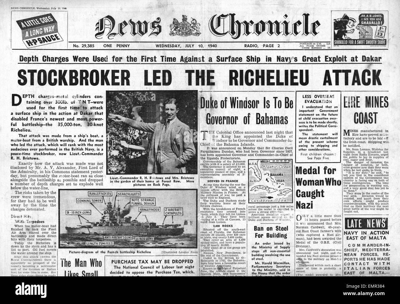 1940-Titelseite News Chronicle Royal Navy Angriff auf Französisch Schlachtschiff Richelieu Stockbild