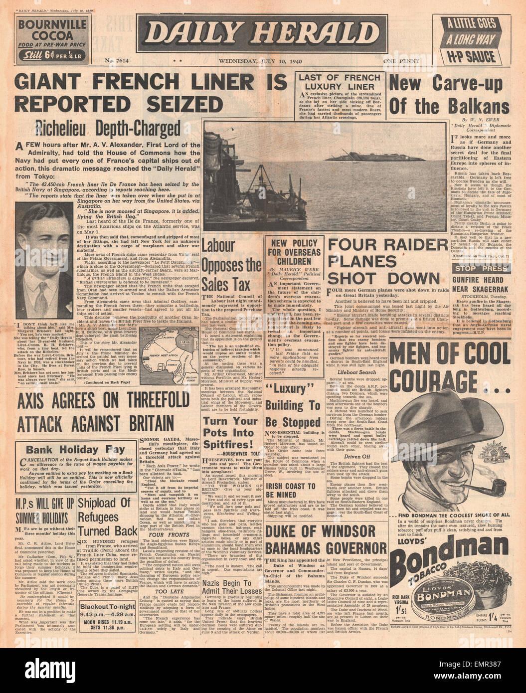 1940-Titelseite Daily Herald Royal Navy Angriff auf Französisch Schlachtschiff Richelieu, Untergang der französischen Stockbild