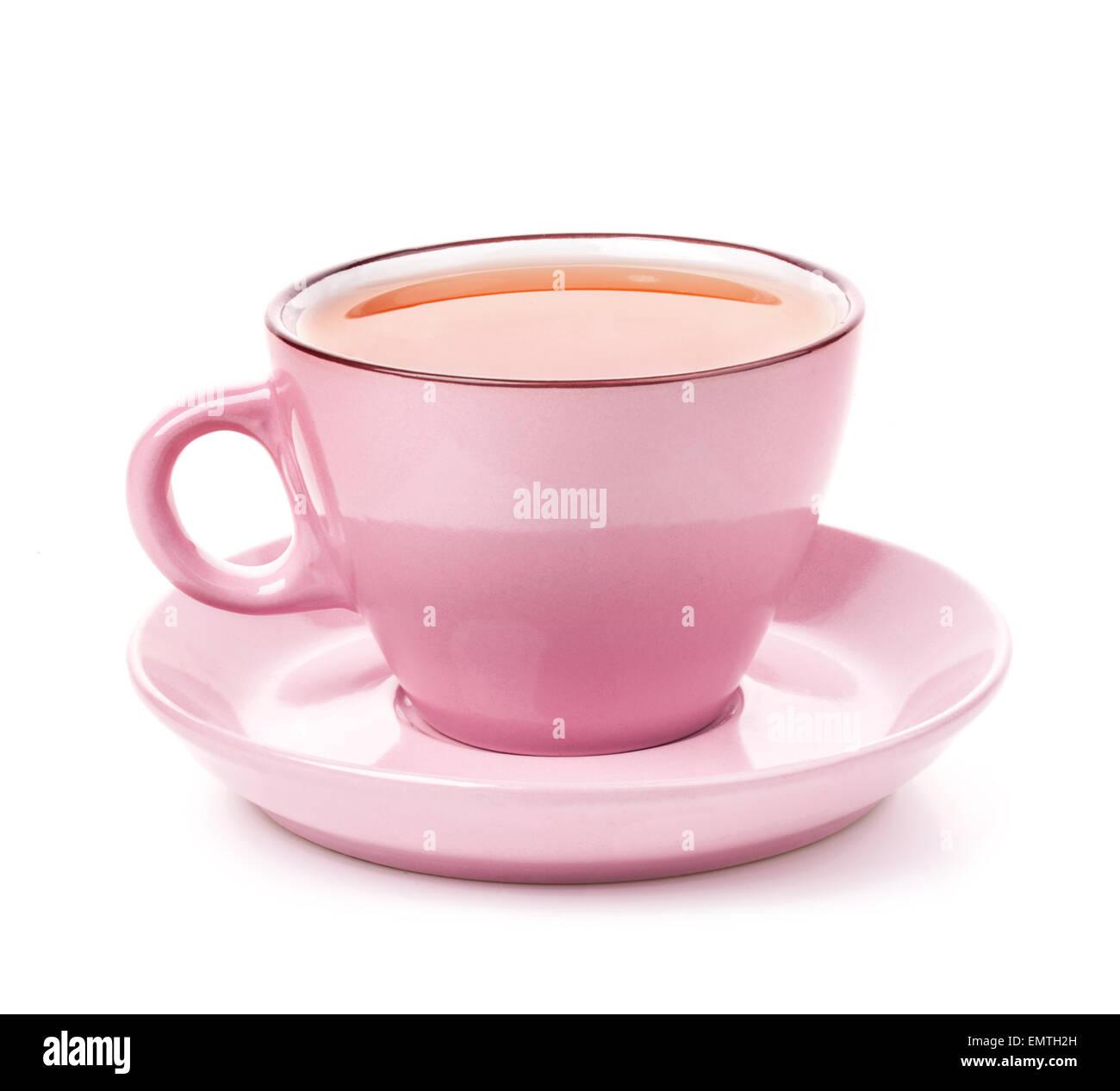 Rosa Tasse Tee auf weißem Hintergrund Stockbild
