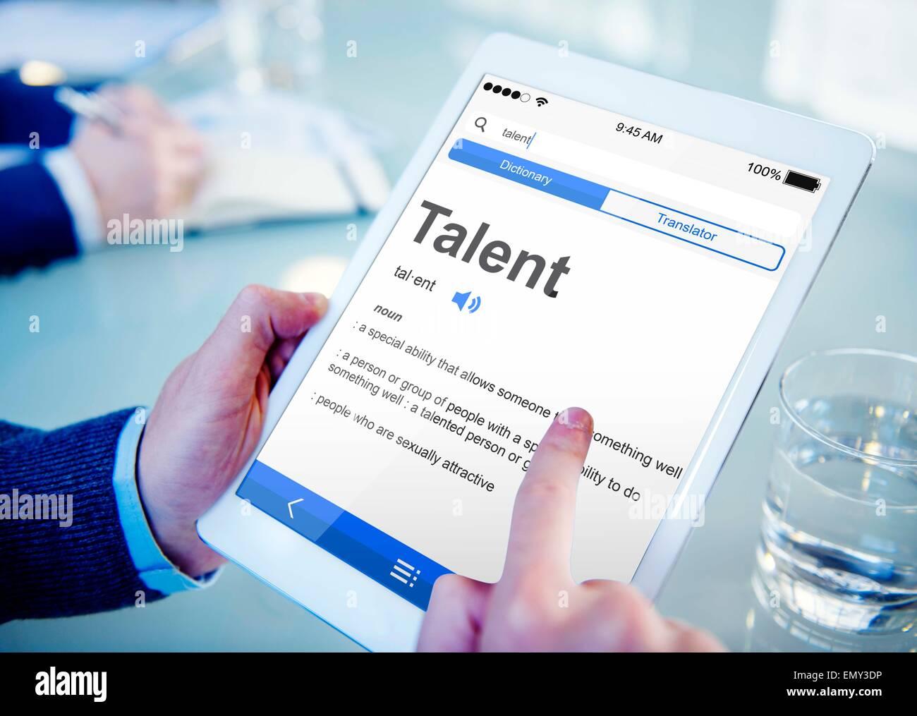 Talent Erfahrung professionelle spezielle Konzepte Stockbild