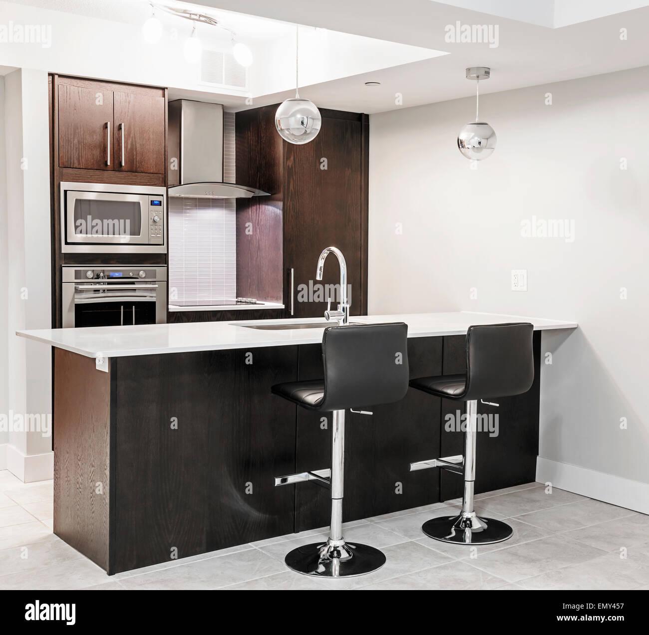 Moderne Luxus Küche Interieur mit dunklem Holz Schränke, Insel Theke ...