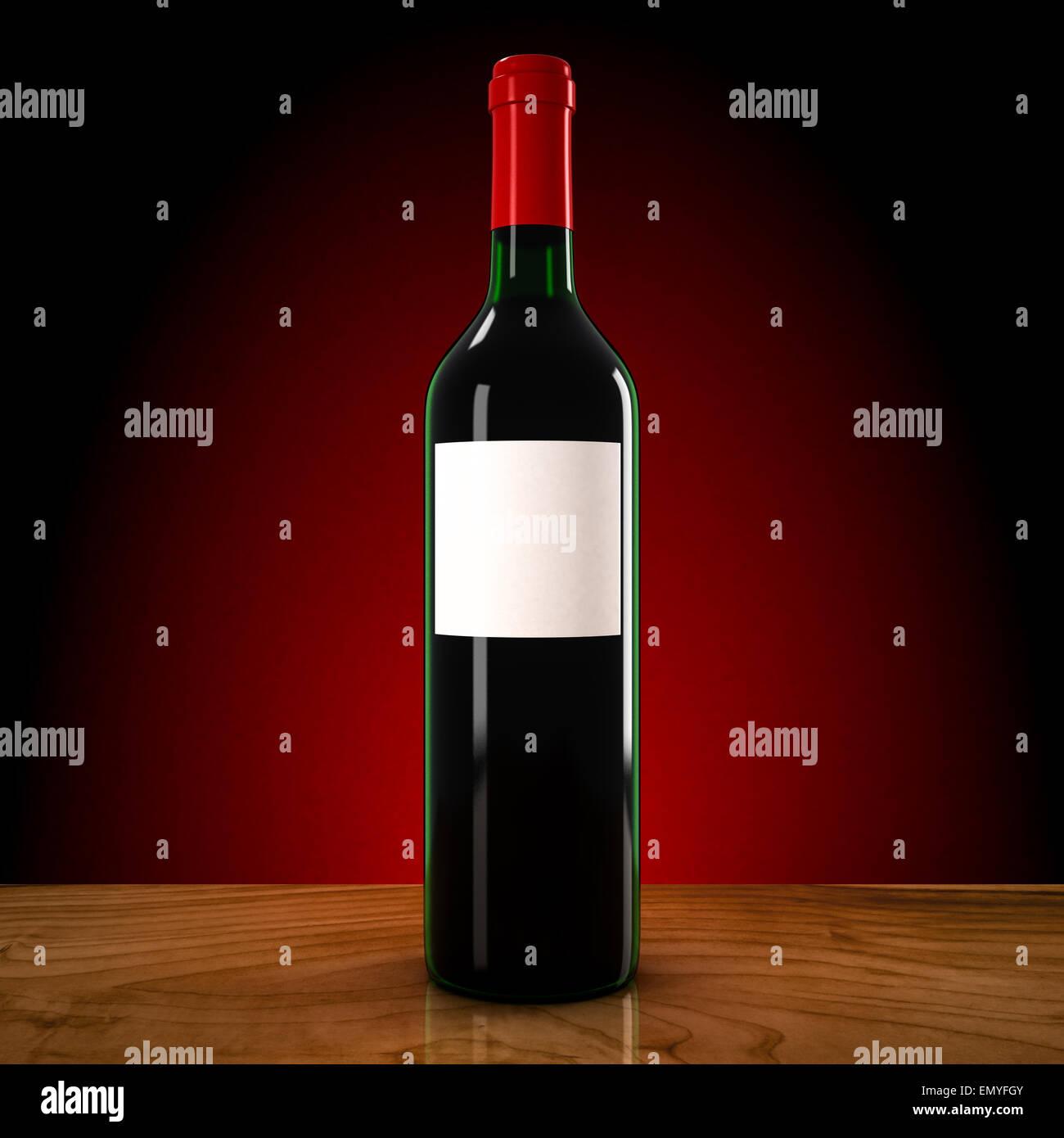 Weinflasche auf rotem Grund Stockbild