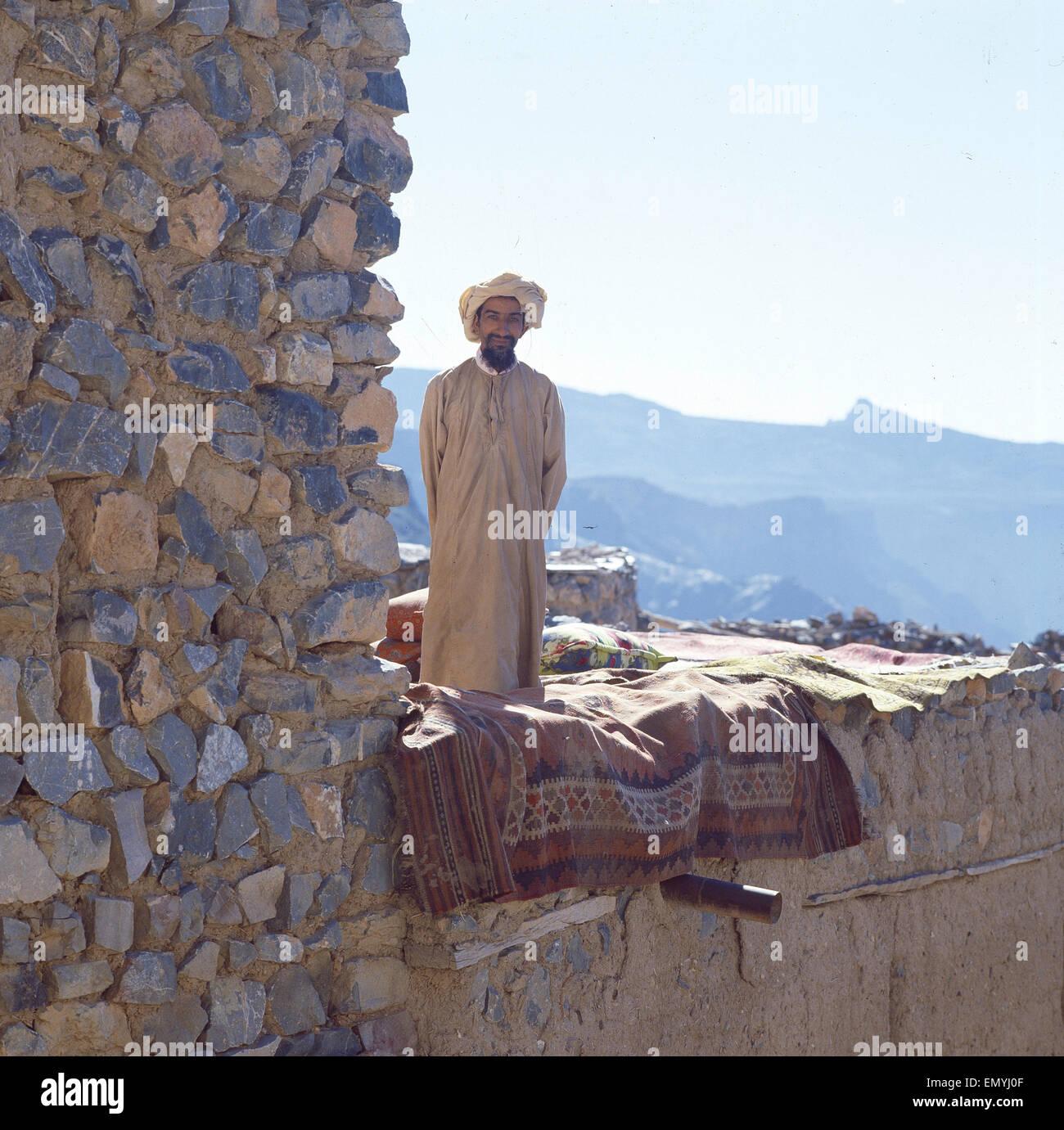 Reflektiert, Oman, Mann aus Einem Bergdorf Stockbild