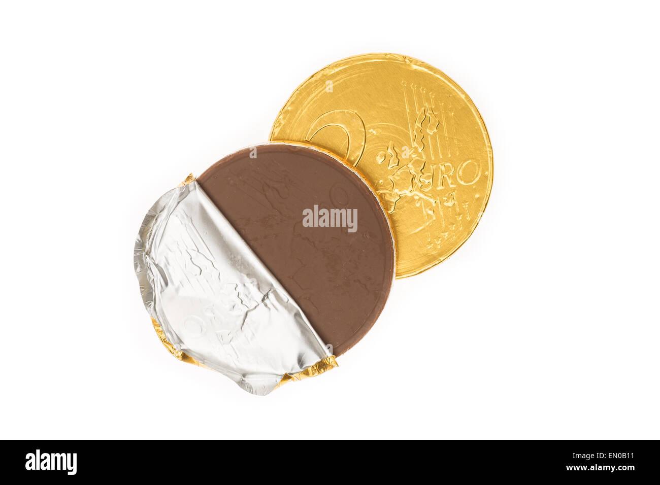 Gefälschte Zwei Euro Münze Von Schokolade Für Sinterklaas
