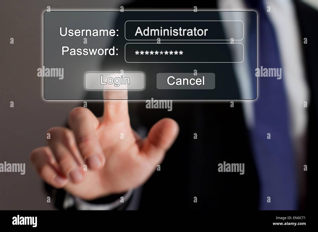 Internet-Sicherheit, Autorisierungsseite online Stockfoto