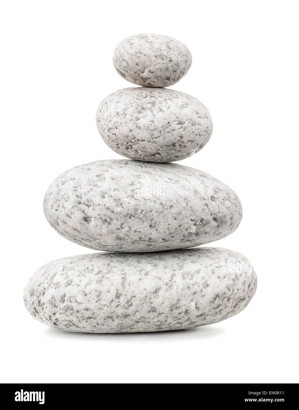 Ausgewogene Kieselsteine isoliert auf weiss Stockbild