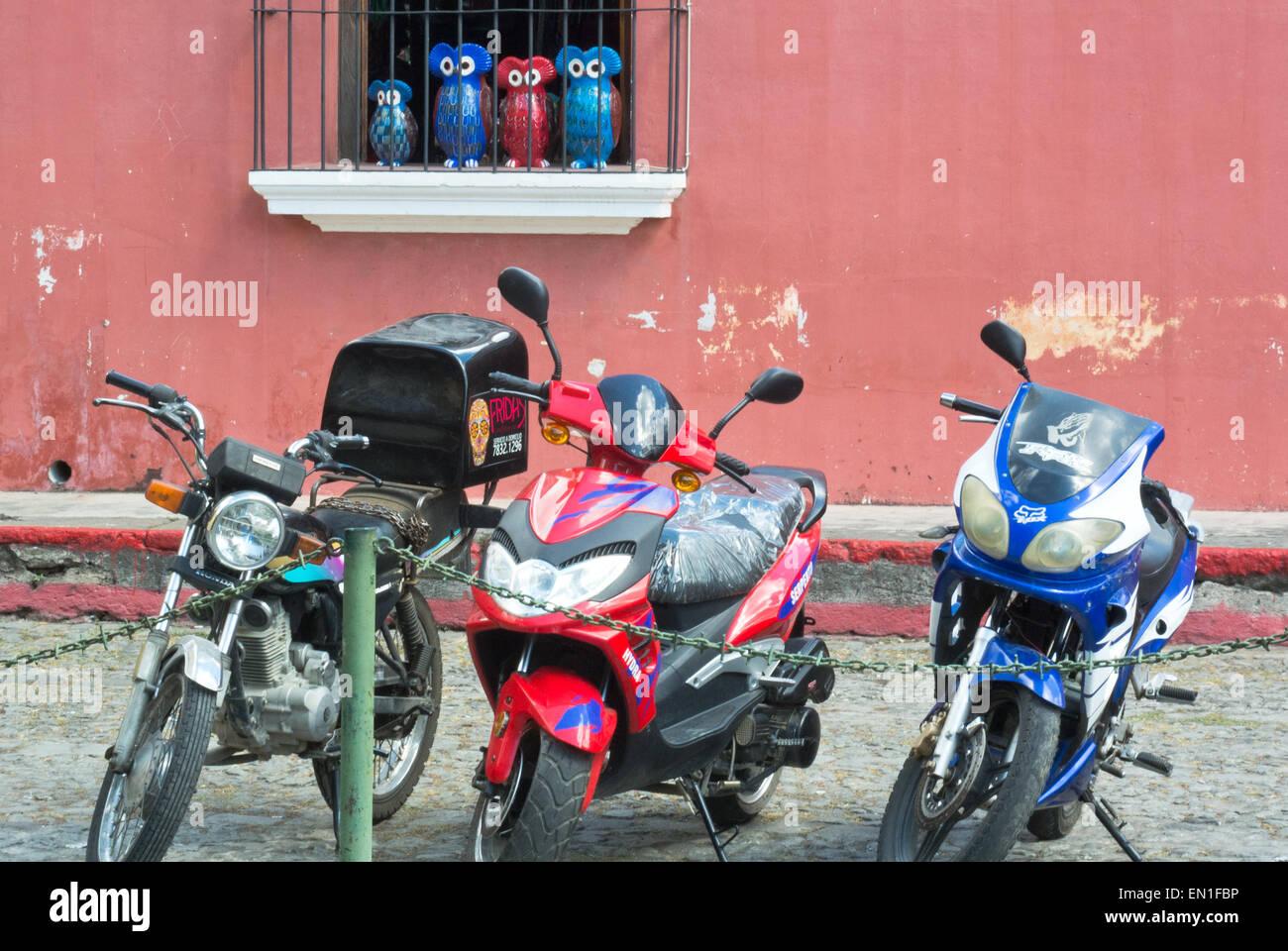 Glückliche Eulen Aufsicht über Motorräder in La Antigua, Guatemala Stockbild