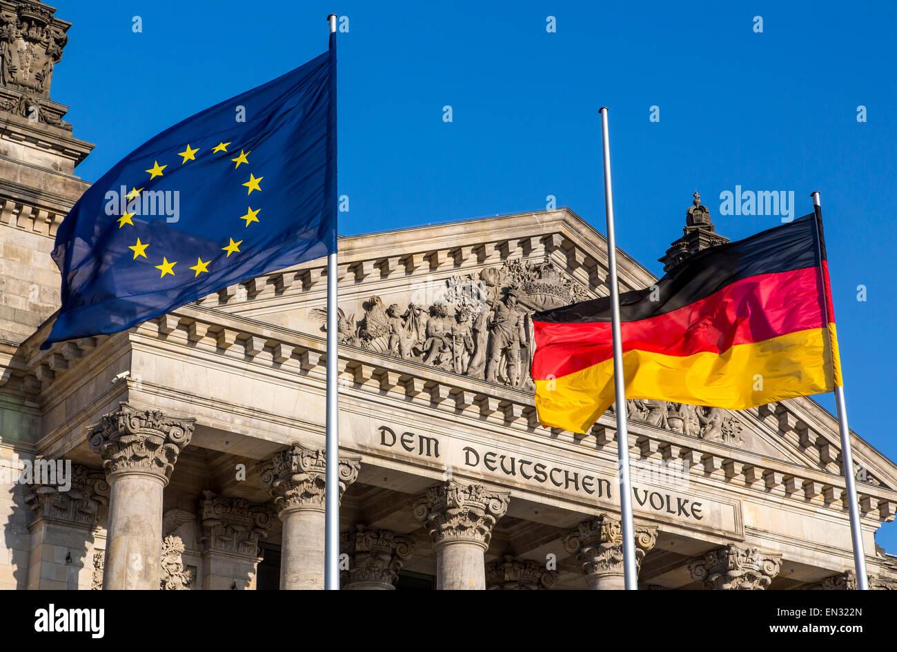 """Der Reichstag, deutsche Parlamentsgebäude, """"Deutscher Bundestag"""", Stockbild"""