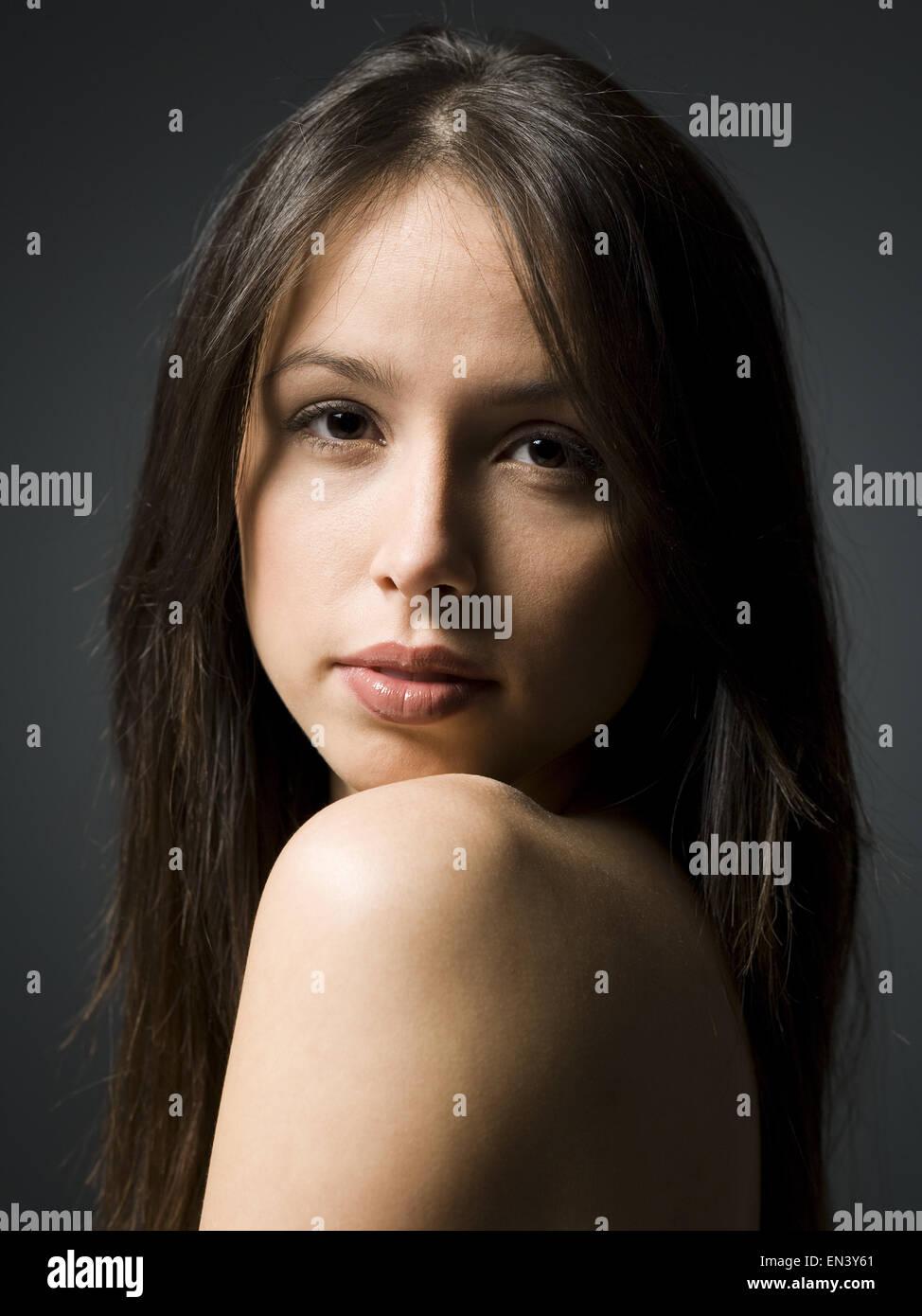 Detailansicht der weibliches Gesicht Stockbild