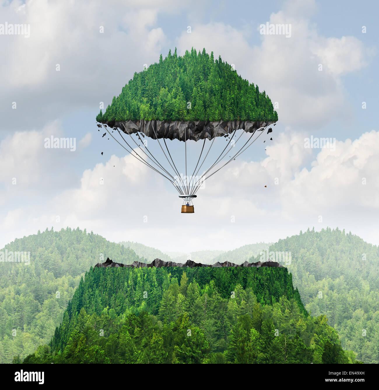 Phantasie-Konzept als eine Person mit einer freistehenden Gipfel eines Berges schwimmende bis in den Himmel wie Stockbild