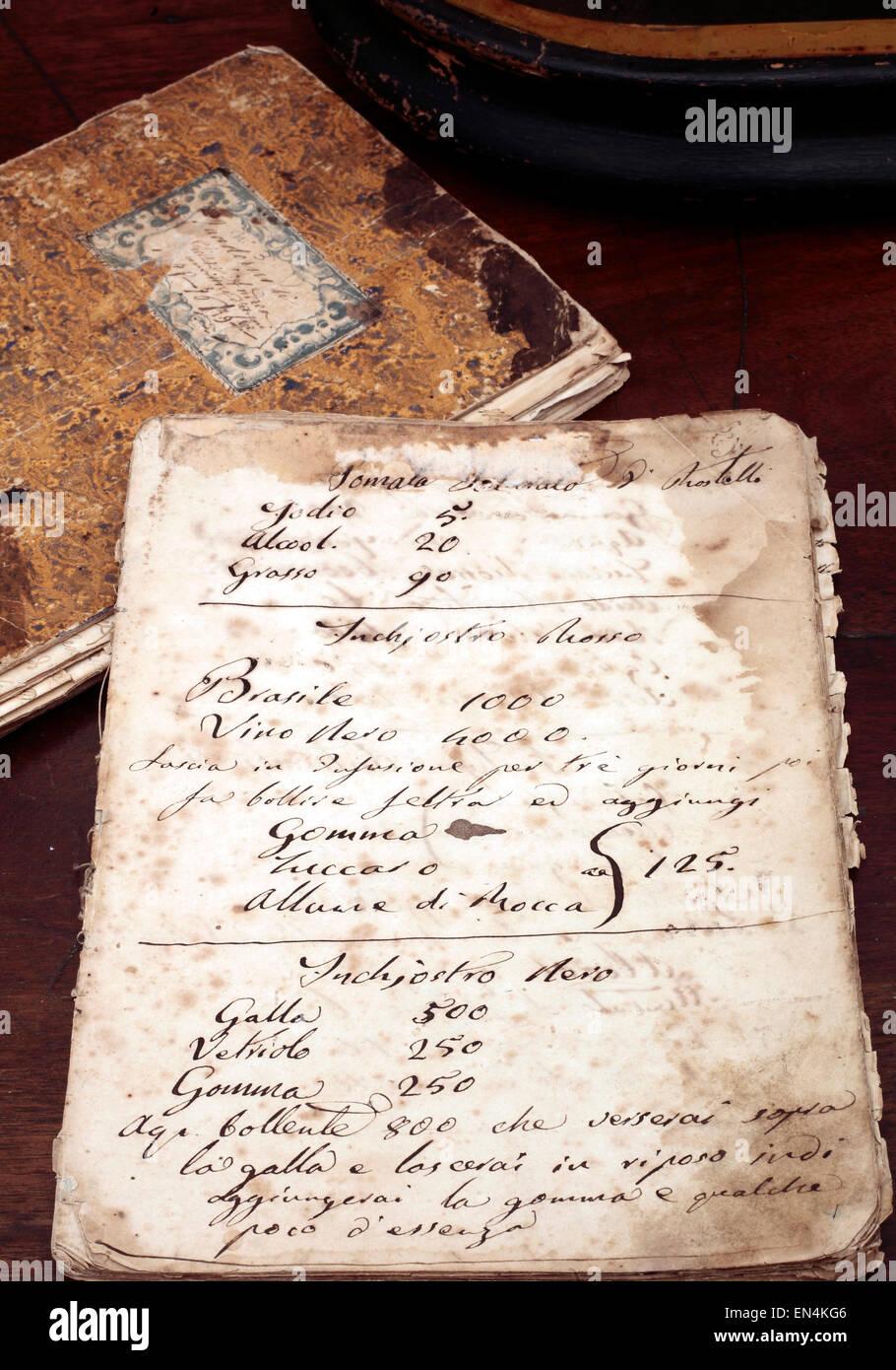 italienischen alte Kochrezepte handschriftlich Stockbild