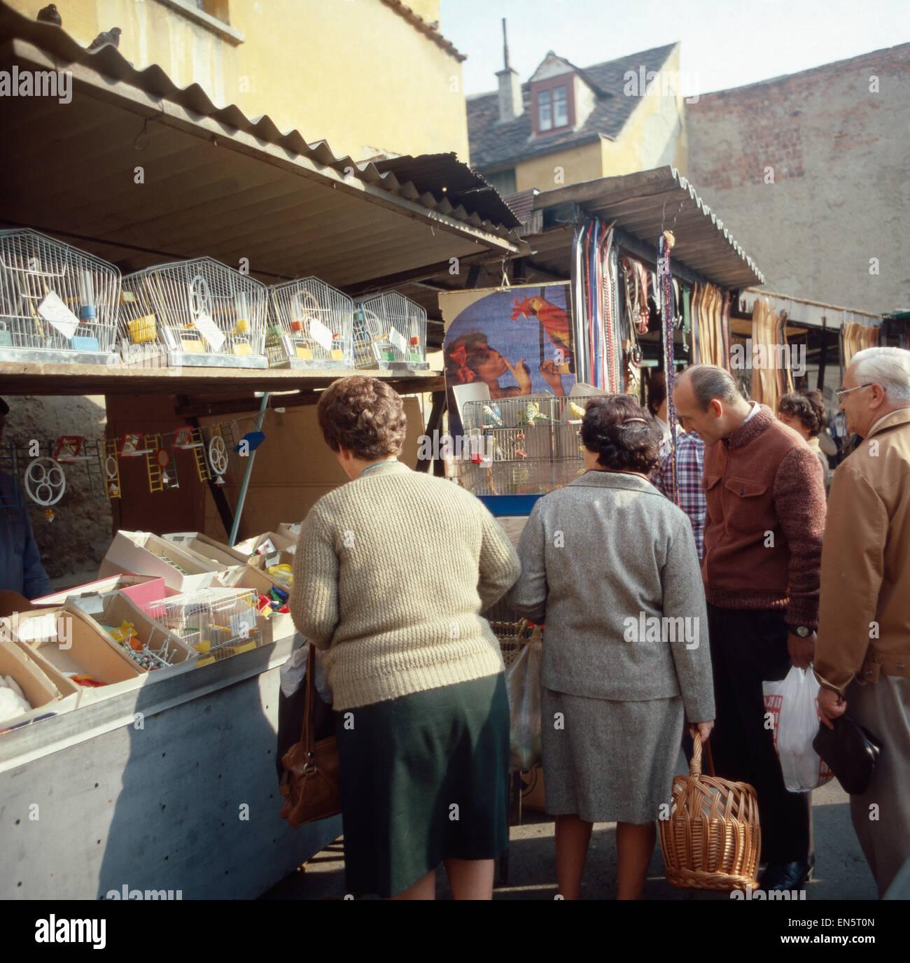 Markttag in Zagreb, Fernsehreihe, Jugoslawien 1970er Jahre. Markttag in Zagreb, Kroatien, Jugoslawien der 1970er Stockbild