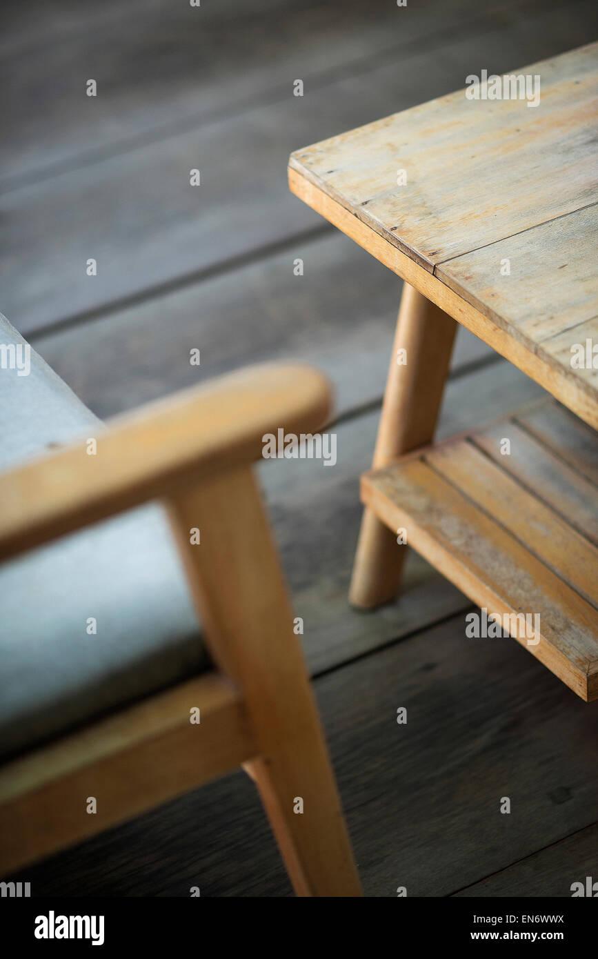 Interior Design-Detail Retro-cool von Möbeln aus Holz Stockbild