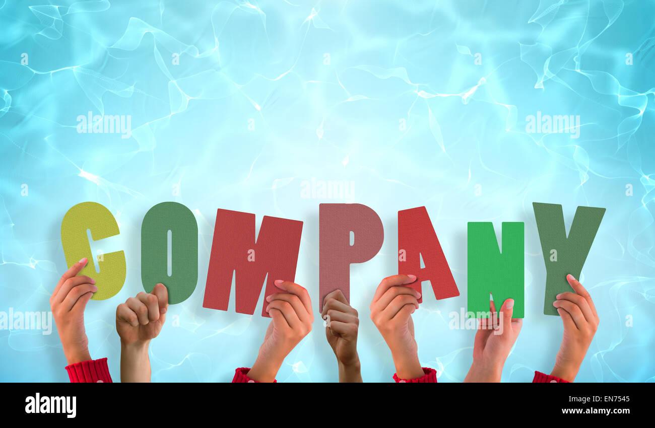 Zusammengesetztes Bild Hände hochhalten Unternehmen Stockbild