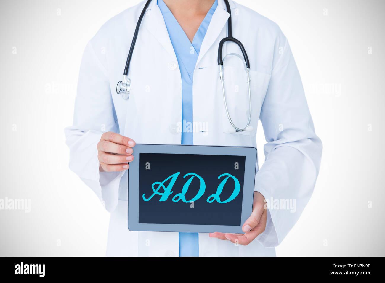 Fügen Sie gegen Arzt zeigt Tablet-pc Stockfoto