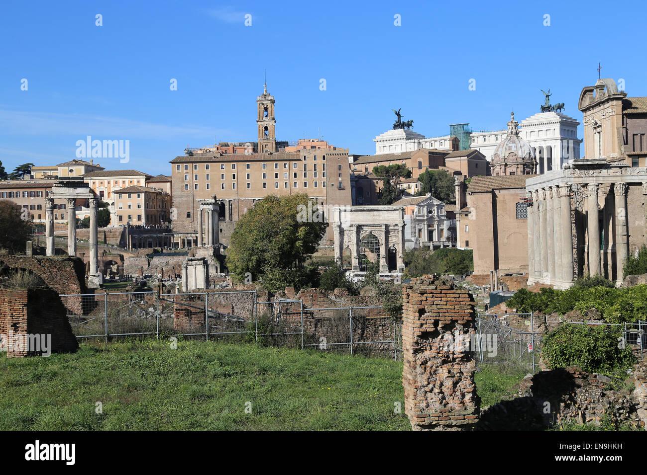 Italien. Rom. Das Forum Romanum. Panorama. Stockbild
