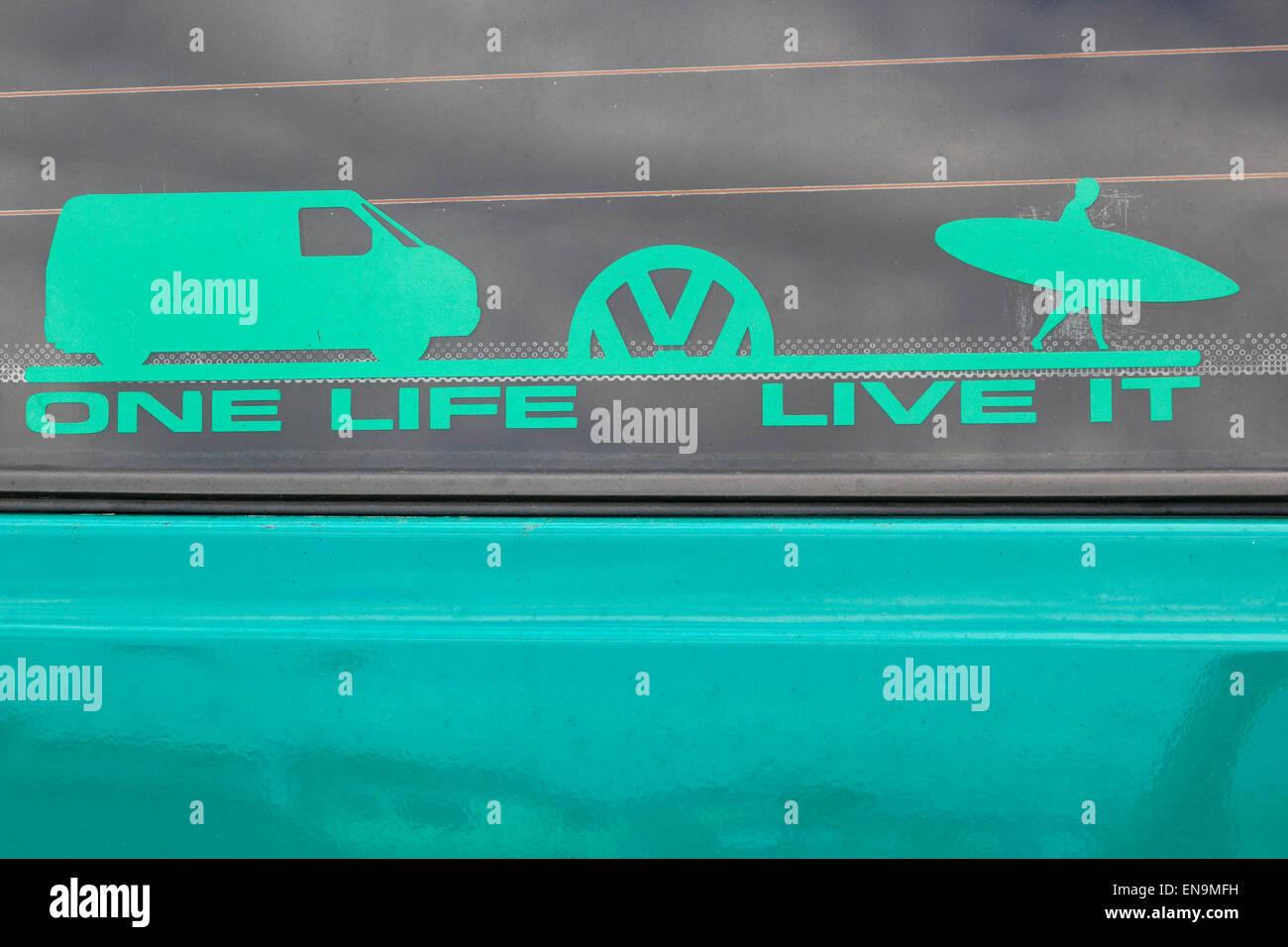 Aufkleber Auf Einem Volkswagen Camper Van Ein Leben Leben