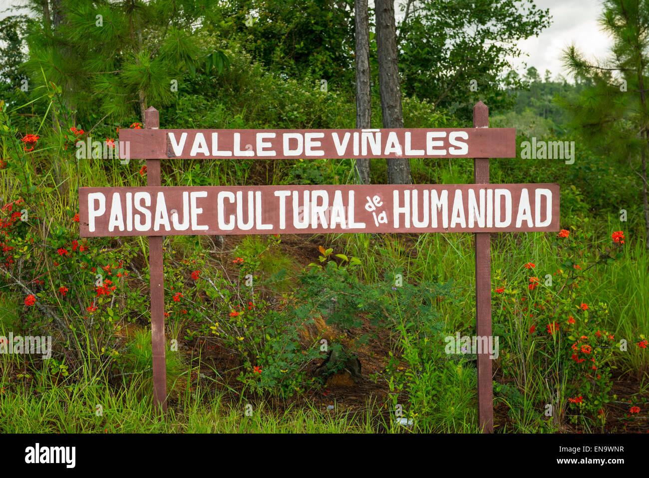 Kuba unterzeichnen für Tal Valle de Vinales Paisaje Cultural De La Humanidad Kulturlandschaften der Menschheit Stockbild