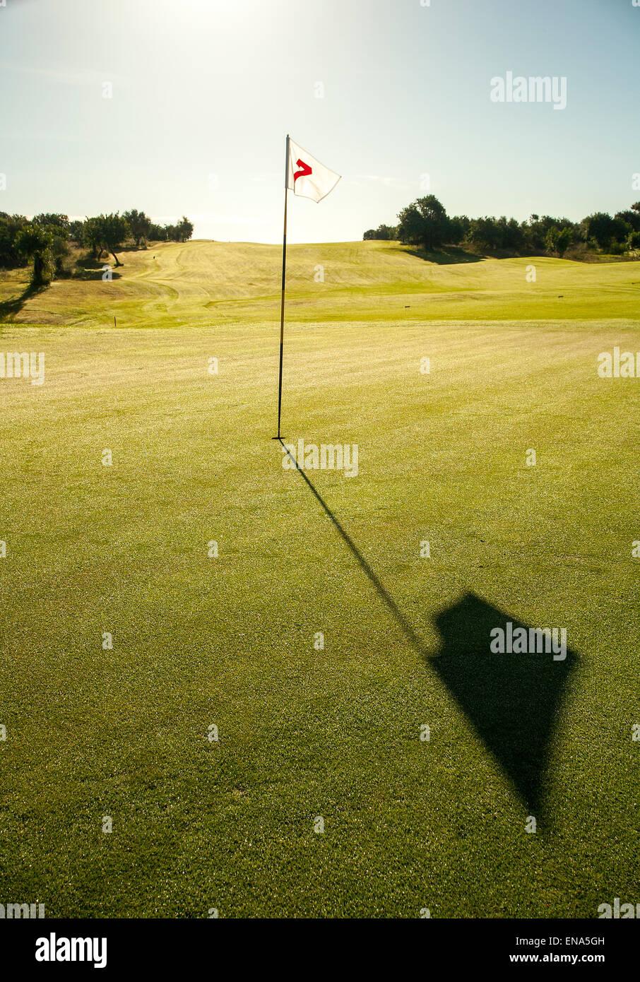 Golfflagge in voller Sonne auf grün, lange Schatten. Stockbild