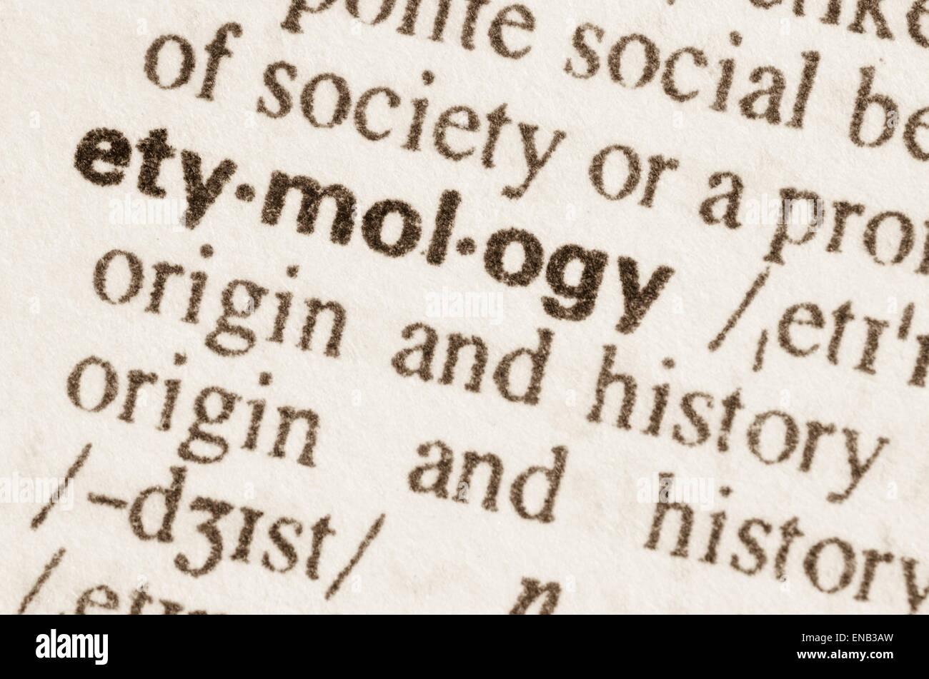 Definition des Wortes Etymologie im Wörterbuch Stockbild