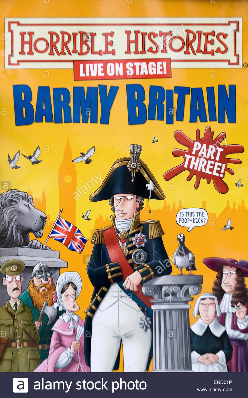 Schreckliche Geschichten Barmy Großbritannien Teil drei Billboard in London England Stockbild