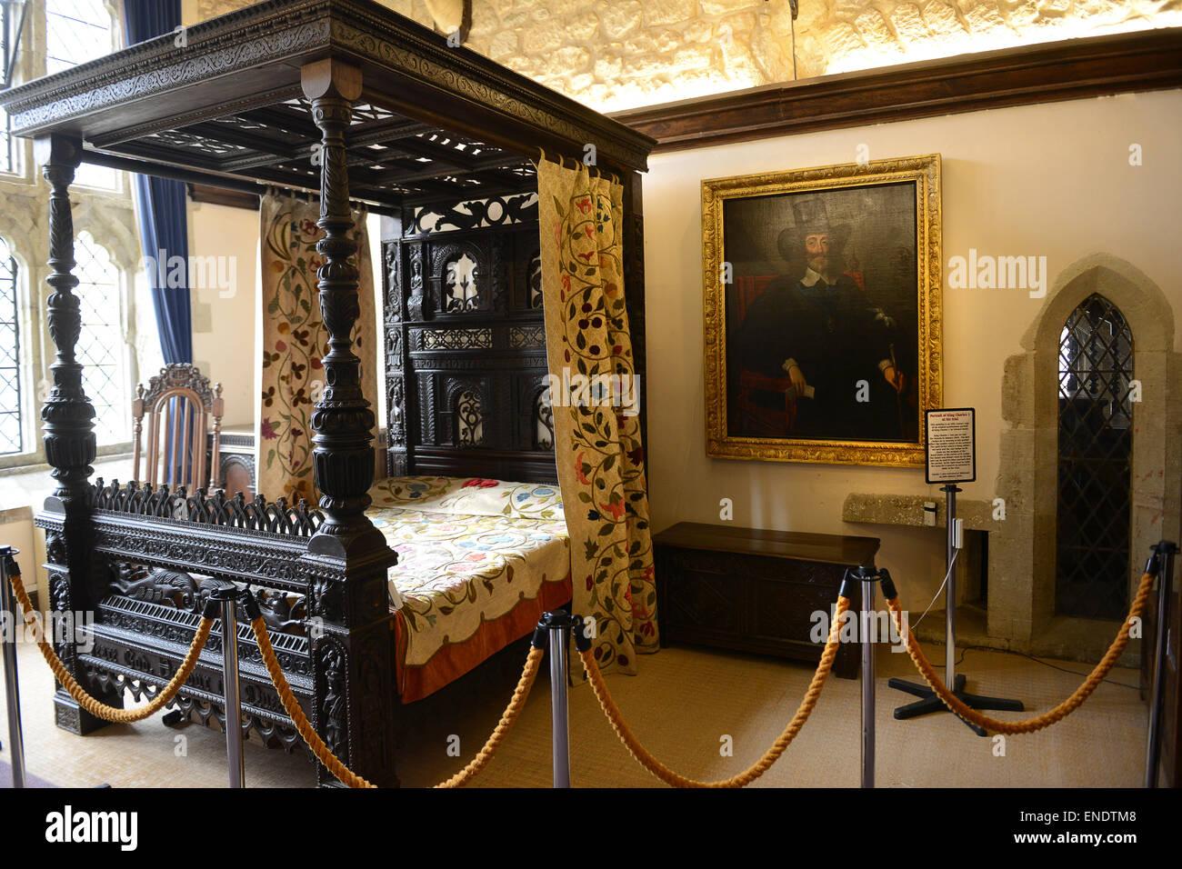 Das Bett von König Charles 1. im Carisbrooke Castle auf der Isle Of ...