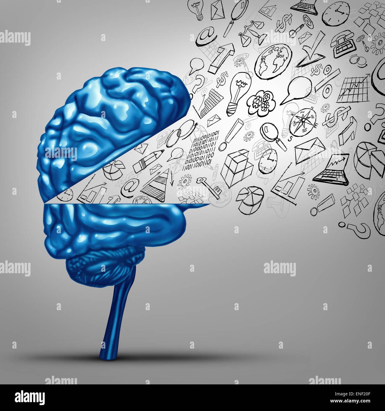 Business-Gedanken und finanzielle Vision Konzept als eine offene menschliche Gehirn mit Office Symbol Symbole als Stockbild