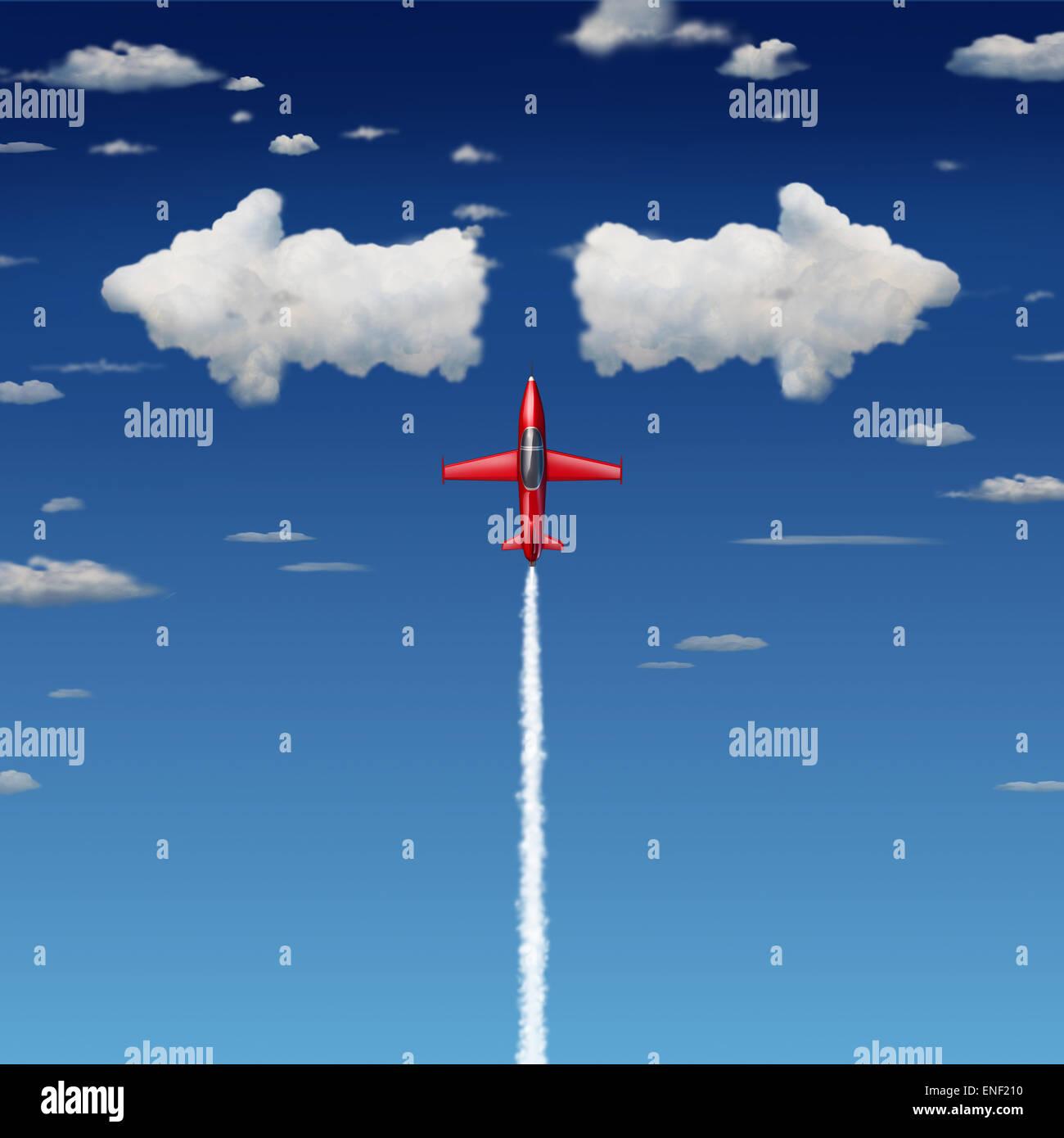 Entscheidungsfindung Geschäftskonzept als eine akrobatische Düsenflugzeug zufliegen Wolken als Pfeile Stockbild
