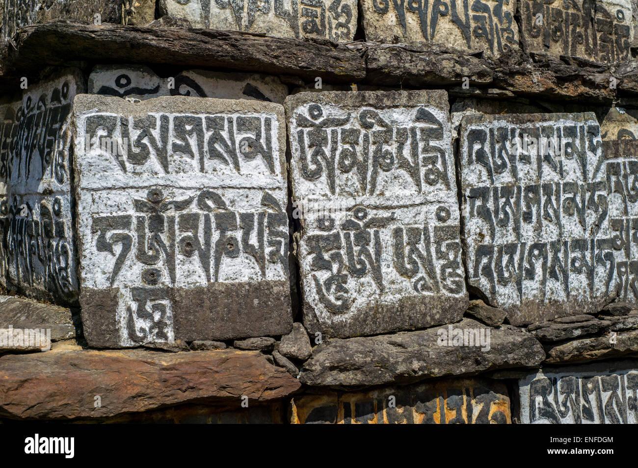 Alten Mani-Steinen eingeschrieben mit einem buddhistischen Mantra in der Himalaya-Region, Nepal Stockfoto