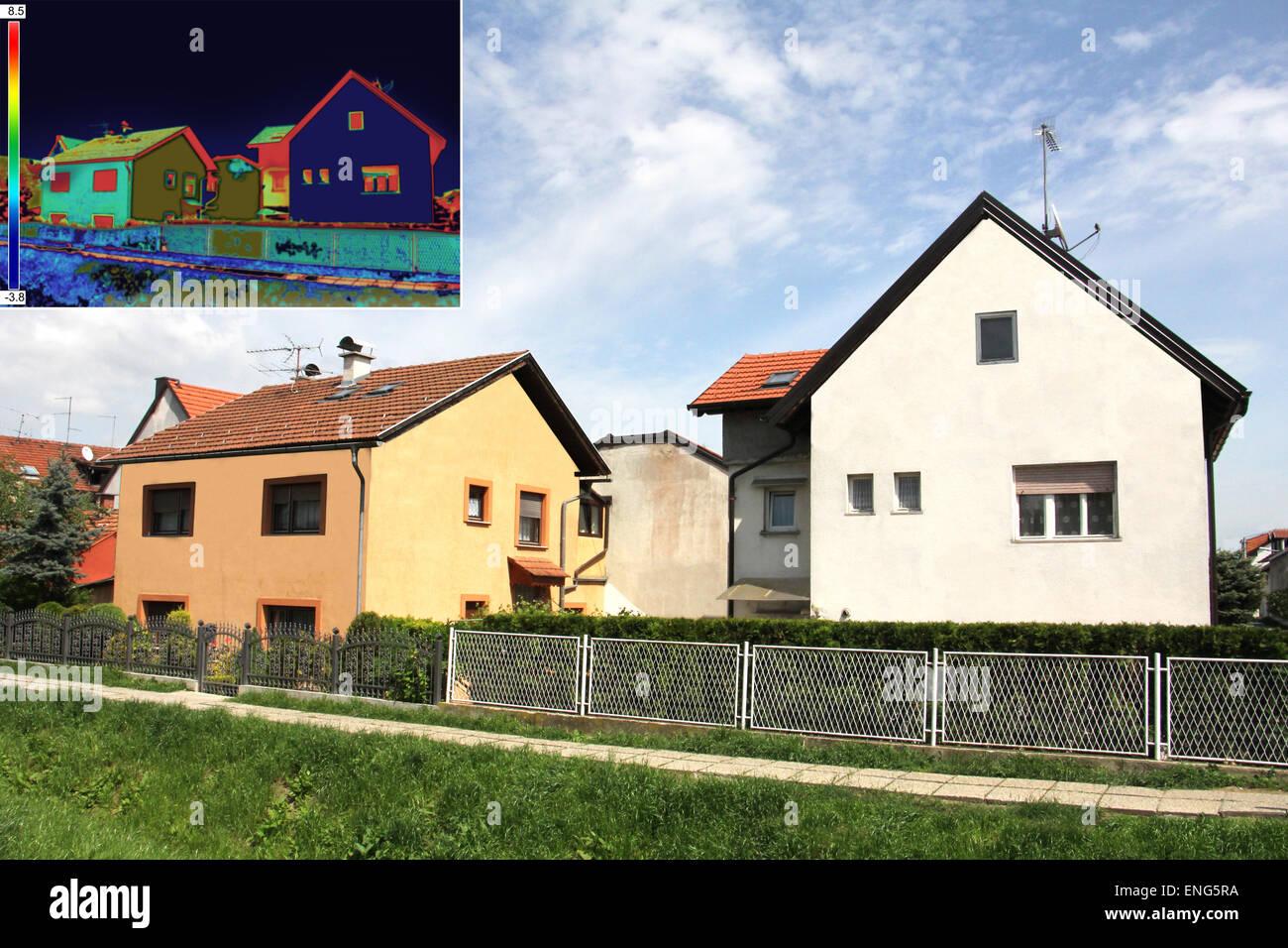 Infrarot-Thermografie-Bild zeigt mangelnde Wärmedämmung am Haus ...