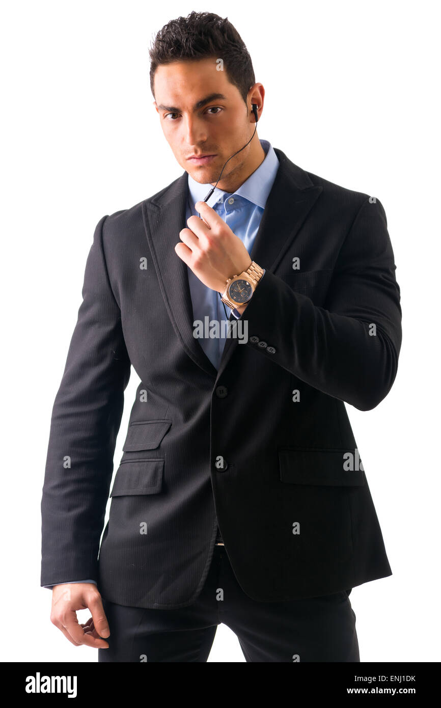 Eleganten Mann Ressed als Leibwächter oder Security agent Stockbild