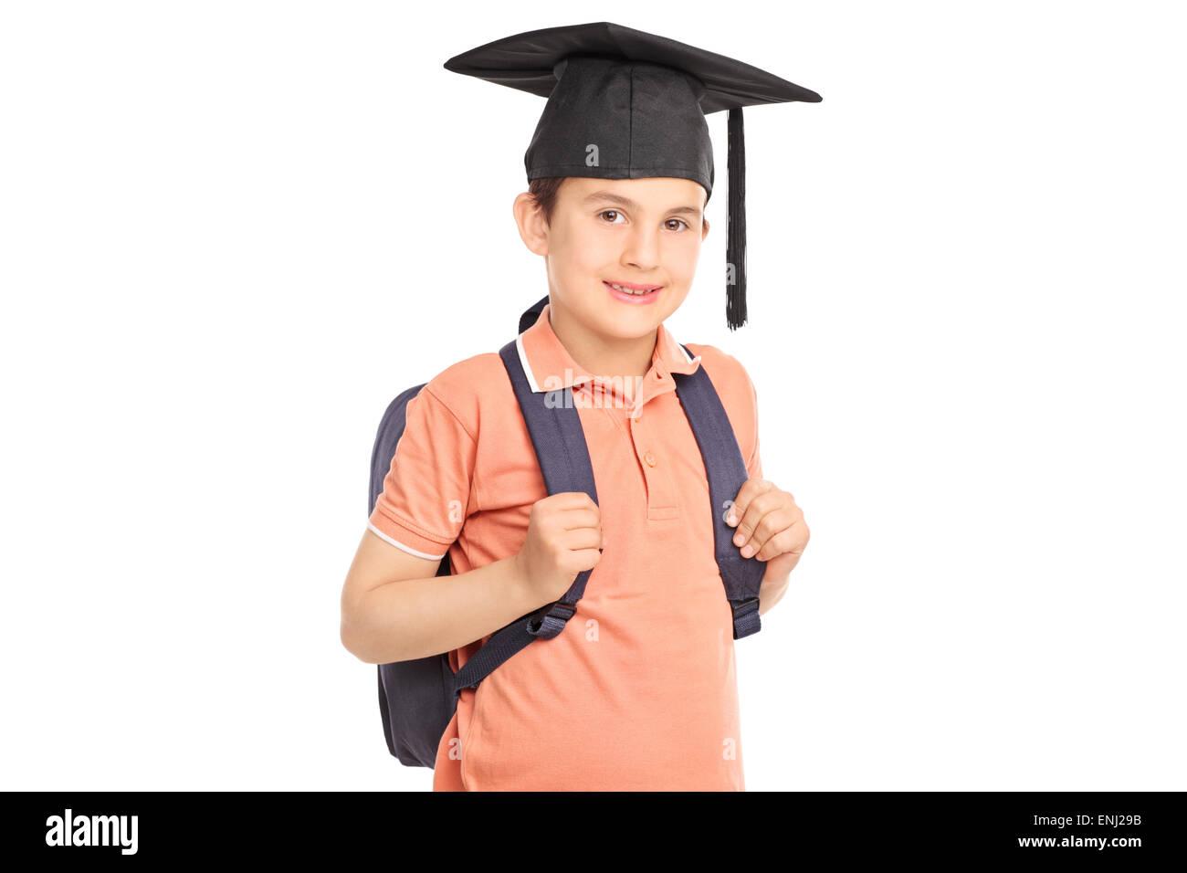 Schüler In Die Kamera Schaut Rucksack Und Einen Abschluss Hut