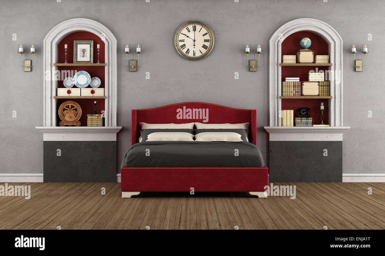 Vintage Schlafzimmer mit klassischen Doppelbett, Nische und ...