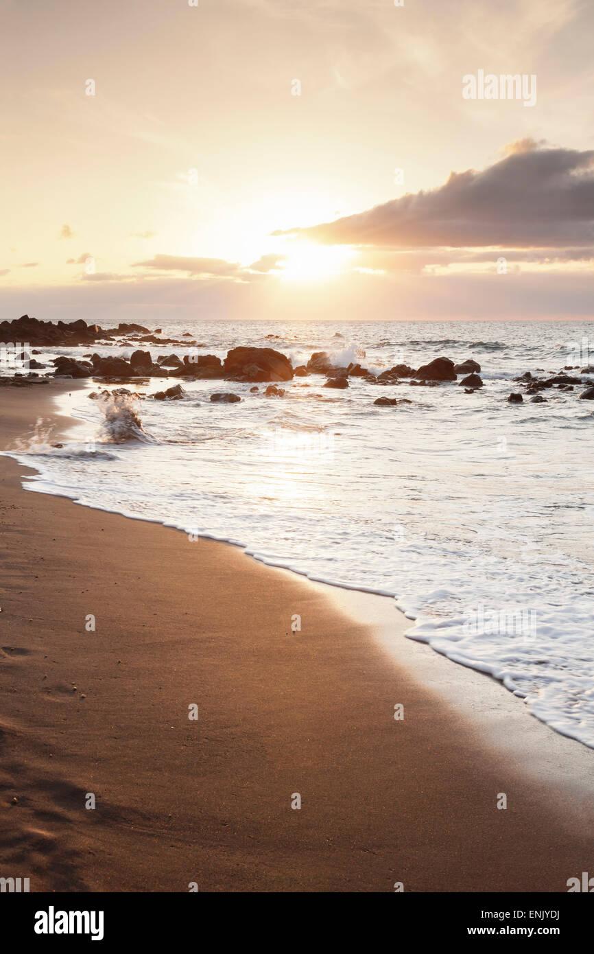 Playa des Ingles, Strand, La Playa, Valle Gran Rey, La Gomera, Kanarische Inseln, Spanien, Atlantik, Europa Stockbild