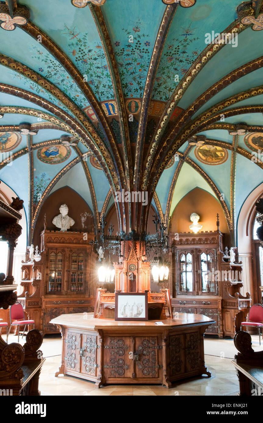 Bibliothek der Königin, Schloss Marienburg in der Nähe von Hildesheim, Niedersachsen, Deutschland Stockbild