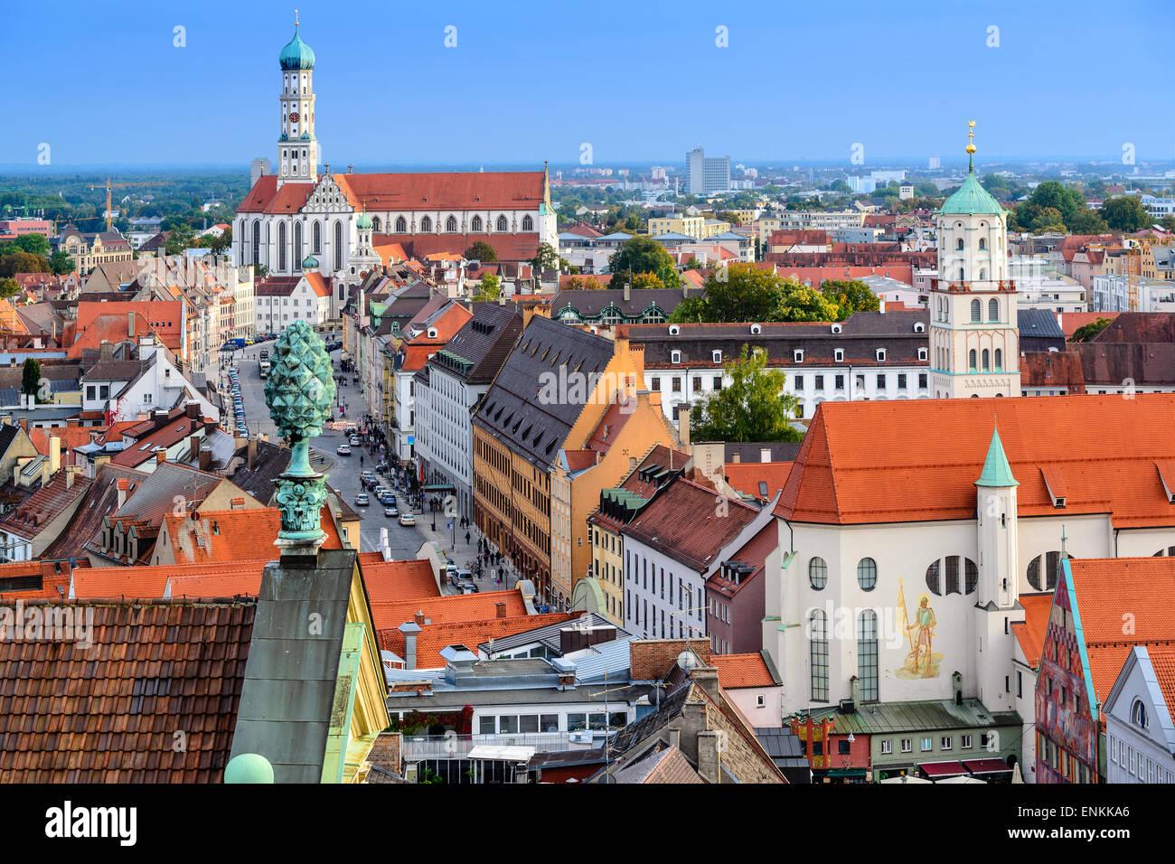 Augsburg, Deutschland, alte Stadt Skyline. Stockbild