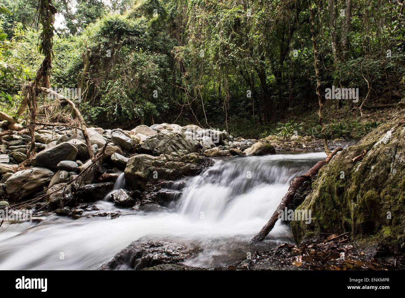 Wasserfälle entlang der verlorenen Stadt (Ciudad Perdida) trek Sierra Nevada in Santa Marta, Kolumbien Stockbild