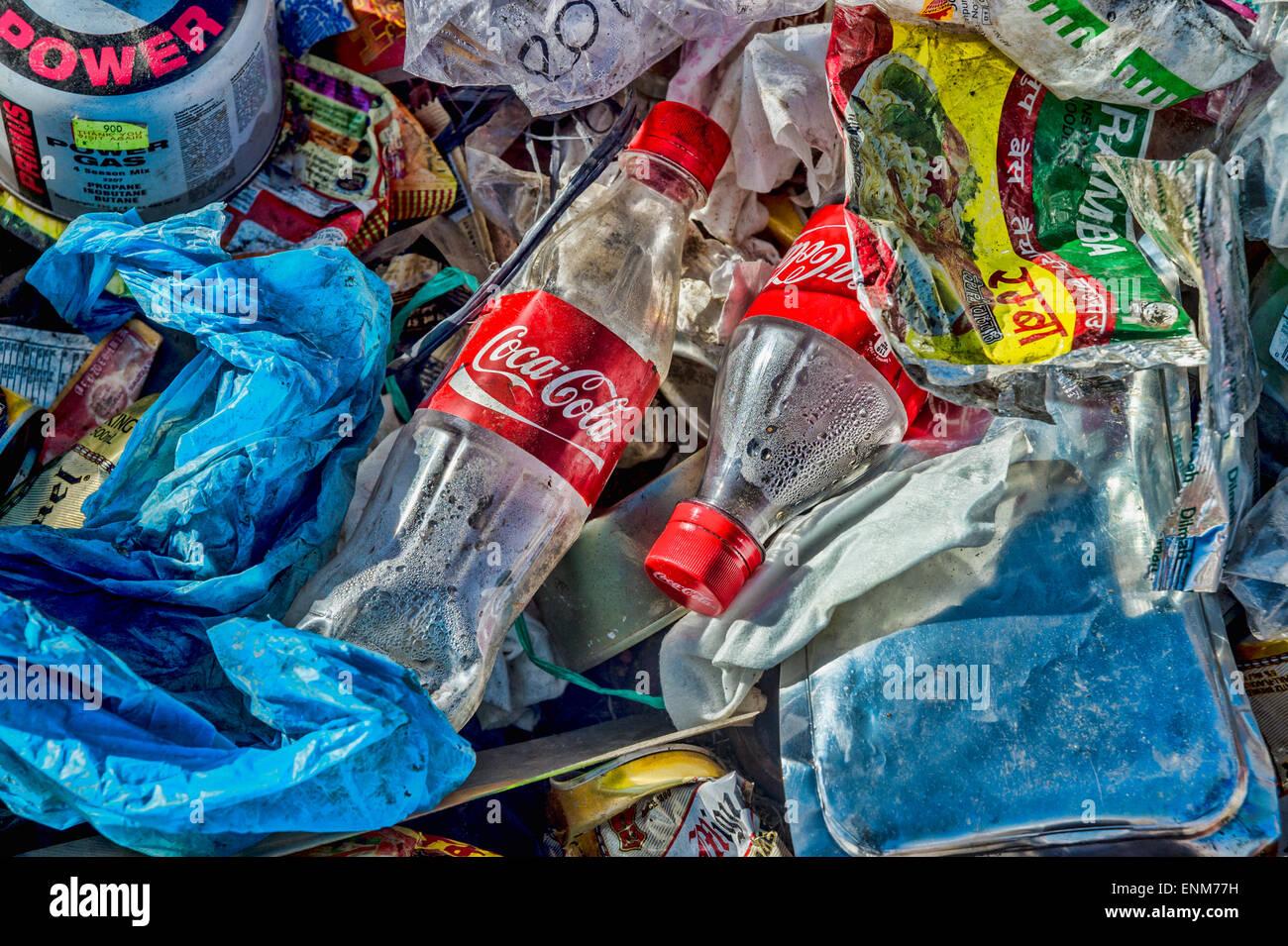 Mülldeponie im Himalaya, Nepal Stockbild