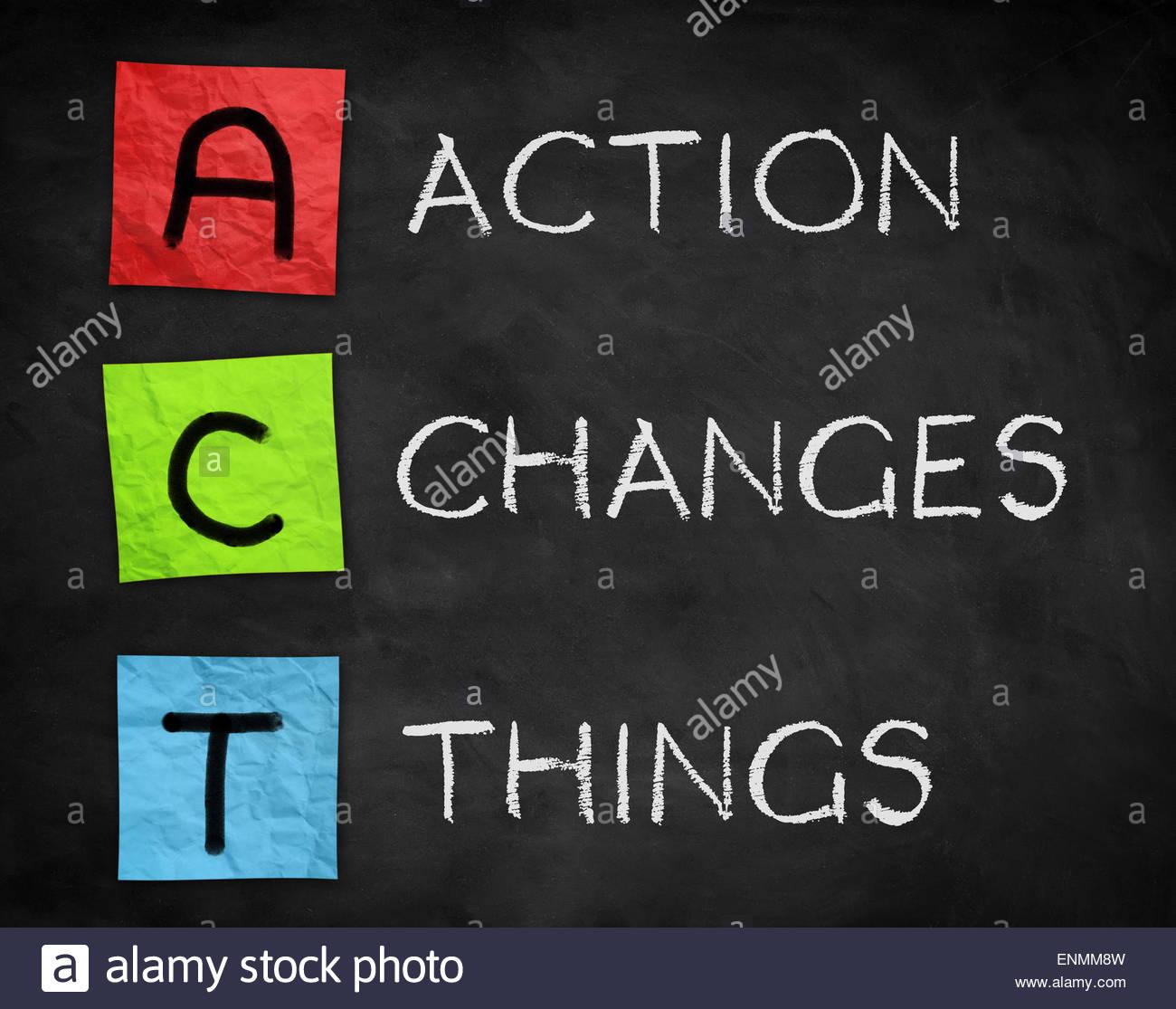 Aktion die Dinge ändert Stockbild